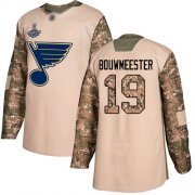 Wholesale Cheap Adidas Blues #19 Jay Bouwmeester Camo Authentic 2017 Veterans Day Stanley Cup Champions Stitched NHL Jersey