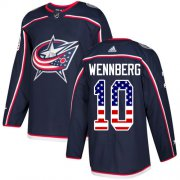 Wholesale Cheap Adidas Blue Jackets #10 Alexander Wennberg Navy Blue Home Authentic USA Flag Stitched Youth NHL Jersey