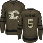 Wholesale Cheap Adidas Flames #5 Mark Giordano Green Salute to Service Stitched Youth NHL Jersey