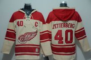 Wholesale Cheap Red Wings #40 Henrik Zetterberg Cream Sawyer Hooded Sweatshirt Stitched NHL Jersey