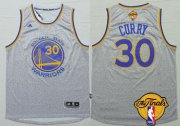 Wholesale Cheap Men's Golden State Warriors #30 Stephen Curry Gray 2017 The NBA Finals Patch Jersey