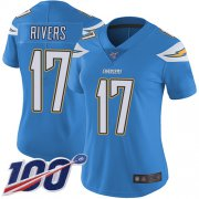 Wholesale Cheap Nike Chargers #17 Philip Rivers Electric Blue Alternate Women's Stitched NFL 100th Season Vapor Limited Jersey