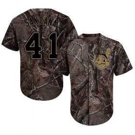 Wholesale Cheap Indians #41 Carlos Santana Camo Realtree Collection Cool Base Stitched MLB Jersey