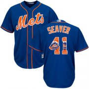 Wholesale Cheap Mets #41 Tom Seaver Blue Team Logo Fashion Stitched MLB Jersey