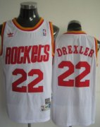 Wholesale Cheap Houston Rockets #22 Clyde Drexler White Swingman Throwback Jersey