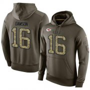 Wholesale Cheap NFL Men's Nike Kansas City Chiefs #16 Len Dawson Stitched Green Olive Salute To Service KO Performance Hoodie