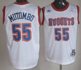Wholesale Cheap Denver Nuggets #55 Dikembe Mutombo White Swingman Throwback Jersey