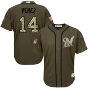 Wholesale Cheap Brewers #14 Hernan Perez Green Salute to Service Stitched MLB Jersey