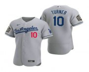 Wholesale Cheap Men's Los Angeles Dodgers #10 Justin Turner Gray 2020 World Series Authentic Road Flex Nike Jersey