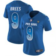 Wholesale Cheap Nike Saints #9 Drew Brees Royal Women's Stitched NFL Limited NFC 2019 Pro Bowl Jersey