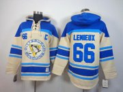 Wholesale Cheap Penguins #66 Mario Lemieux Cream Sawyer Hooded Sweatshirt Stitched NHL Jersey