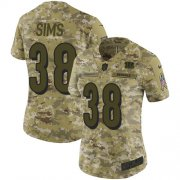 Wholesale Cheap Nike Bengals #38 LeShaun Sims Camo Women's Stitched NFL Limited 2018 Salute To Service Jersey