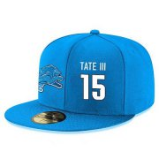 Wholesale Cheap Detroit Lions #15 Golden Tate III Snapback Cap NFL Player Light Blue with White Number Stitched Hat
