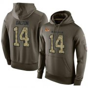 Wholesale Cheap NFL Men's Nike Cincinnati Bengals #14 Andy Dalton Stitched Green Olive Salute To Service KO Performance Hoodie