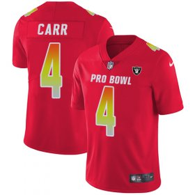 Wholesale Cheap Nike Raiders #4 Derek Carr Red Men\'s Stitched NFL Limited AFC 2018 Pro Bowl Jersey
