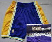 Wholesale Cheap Men's Los Angeles Lakers #24 Kobe Bryant 1996-97 Purple Hardwood Classics Soul Swingman Throwback Shorts