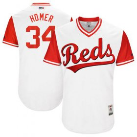 "Wholesale Cheap Reds #34 Homer Bailey White ""Homer\"" Players Weekend Authentic Stitched MLB Jersey"