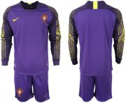 Wholesale Cheap Portugal Blank Purple Goalkeeper Long Sleeves Soccer Country Jersey