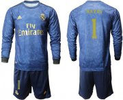 Wholesale Cheap Real Madrid #1 Navas Away Long Sleeves Soccer Club Jersey