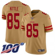 Wholesale Cheap Nike 49ers #85 George Kittle Gold Men's Stitched NFL Limited Inverted Legend 100th Season Jersey