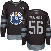Wholesale Cheap Adidas Oilers #56 Kailer Yamamoto Black 1917-2017 100th Anniversary Stitched NHL Jersey