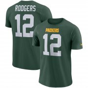 Wholesale Cheap Nike Green Bay Packers #12 Aaron Rodgers Player Pride 3.0 Name & Number Wordmark T-Shirt Green
