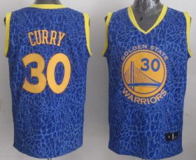 Wholesale Cheap Golden State Warriors #30 Stephen Curry Blue Leopard Print Fashion Jersey