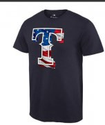 Wholesale Cheap Men's Texas Rangers USA Flag Fashion T-Shirt Navy Blue