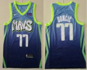 Wholesale Cheap Men's Dallas Mavericks #77 Luka Doncic Blue 2020 Nike City Edition Swingman Jersey With The Sponsor Logo