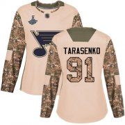 Wholesale Cheap Adidas Blues #91 Vladimir Tarasenko Camo Authentic 2017 Veterans Day Stanley Cup Champions Women's Stitched NHL Jersey