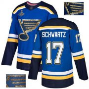 Wholesale Cheap Adidas Blues #17 Jaden Schwartz Blue Home Authentic Fashion Gold Stanley Cup Champions Stitched NHL Jersey