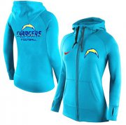 Wholesale Cheap Women's Nike Los Angeles Chargers Full-Zip Performance Hoodie Light Blue