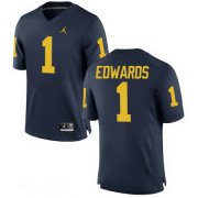 Wholesale Cheap Men's Michigan Wolverines #1 Braylon Edwards Retired Navy Blue Stitched College Football Brand Jordan NCAA Jersey