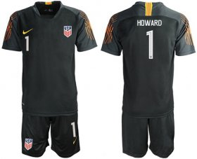 Wholesale Cheap USA #1 Howard Black Goalkeeper Soccer Country Jersey