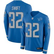 Wholesale Cheap Nike Lions #32 D'Andre Swift Blue Team Color Youth Stitched NFL Limited Therma Long Sleeve Jersey