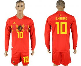 Wholesale Cheap Belgium #10 E.Hazard Red Home Long Sleeves Soccer Country Jersey