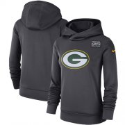 Wholesale Cheap NFL Women's Green Bay Packers Nike Anthracite Crucial Catch Performance Pullover Hoodie