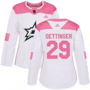 Cheap Adidas Stars #29 Jake Oettinger White/Pink Authentic Fashion Women's Stitched NHL Jersey