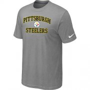 Wholesale Cheap Nike NFL Pittsburgh Steelers Heart & Soul NFL T-Shirt Light Grey