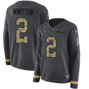 Wholesale Cheap Nike Saints #2 Jameis Winston Anthracite Salute to Service Women's Stitched NFL Limited Therma Long Sleeve Jersey