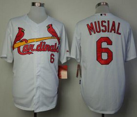 Wholesale Cheap Cardinals #6 Stan Musial White Cool Base Stitched MLB Jersey