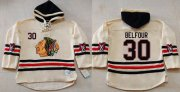 Wholesale Cheap Blackhawks #30 ED Belfour Cream Heavyweight Pullover Hoodie Stitched NHL Jersey