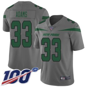 Wholesale Cheap Nike Jets #33 Jamal Adams Gray Men\'s Stitched NFL Limited Inverted Legend 100th Season Jersey