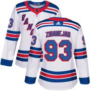 Wholesale Cheap Adidas Rangers #93 Mika Zibanejad White Road Authentic Women's Stitched NHL Jersey