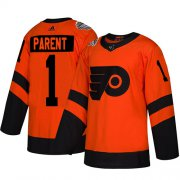 Wholesale Cheap Adidas Flyers #1 Bernie Parent Orange Authentic 2019 Stadium Series Stitched Youth NHL Jersey