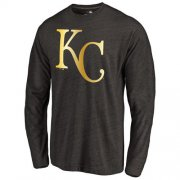 Wholesale Cheap Kansas City Royals Gold Collection Long Sleeve Tri-Blend T-Shirt Black
