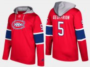 Wholesale Cheap Canadiens #5 Bernie Geoffrion Red Name And Number Hoodie