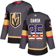 Wholesale Cheap Adidas Golden Knights #35 Oscar Dansk Grey Home Authentic USA Flag Stitched NHL Jersey