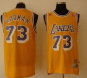 Wholesale Cheap Los Angeles Lakers #73 Dennis Rodman Yellow Swingman Throwback Jersey