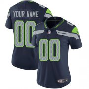 Wholesale Cheap Nike Seattle Seahawks Customized Steel Blue Team Color Stitched Vapor Untouchable Limited Women's NFL Jersey